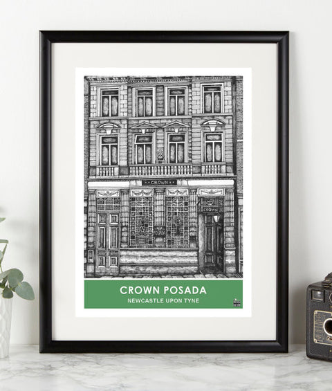 Crown Posada newcastle famous pub pen and ink illustration artwork print ben holland