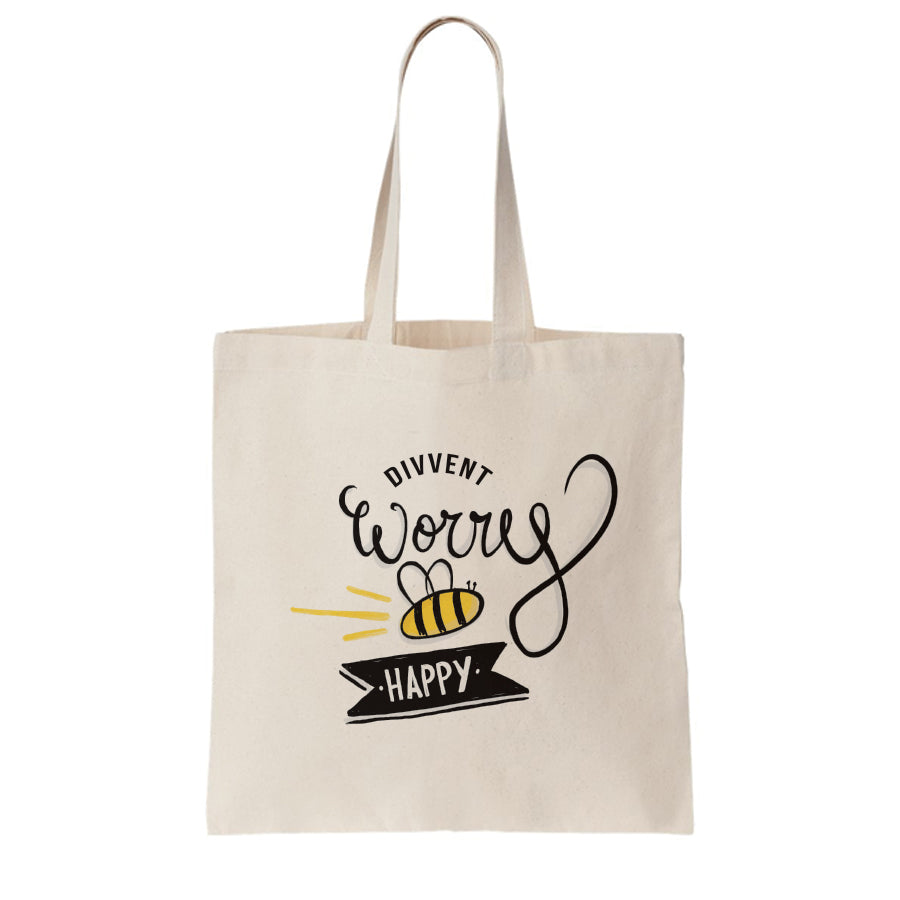 divvent worry BEE happy geordie gifts tote bag for life made and designed in newcastle upon tyne north east