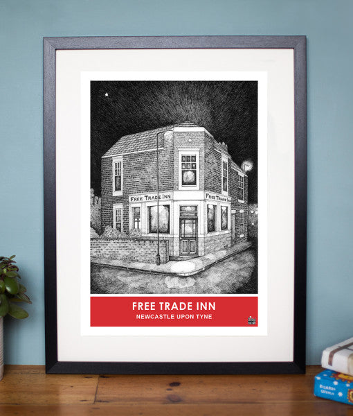 free trade inn pen and ink black and white drawing newcastle famous pub artwork print