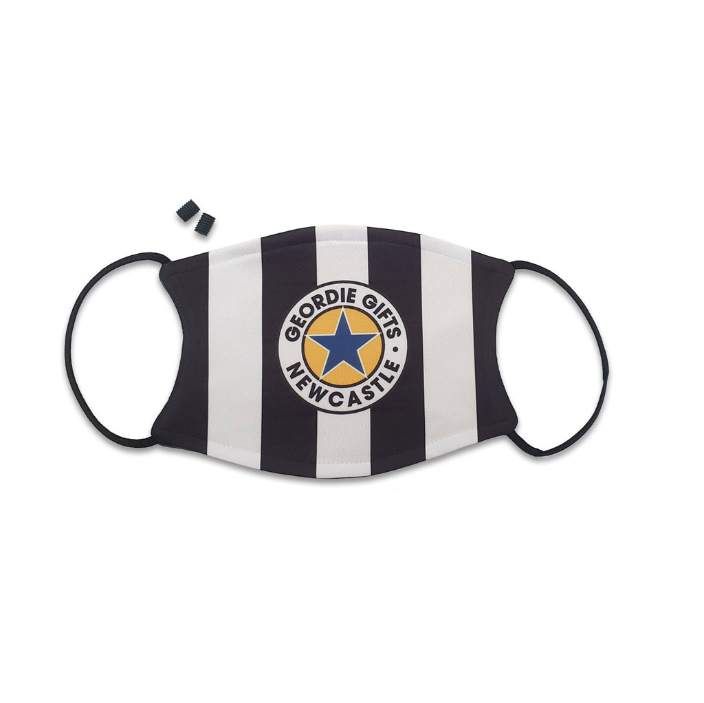 newcastle united football face mask Mask reads: Geordie Gifts - Newcastle (Featuring the famous blue star inspired by the Brown ale logo)