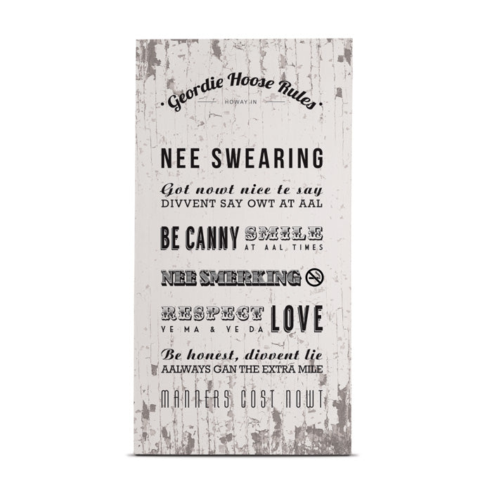 geordie hoose rules tall wooden plaque newcastle home decor