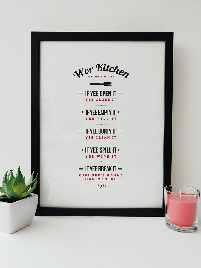 original & unique geordie kitchen rules. Funny newcastle gifts framed print design