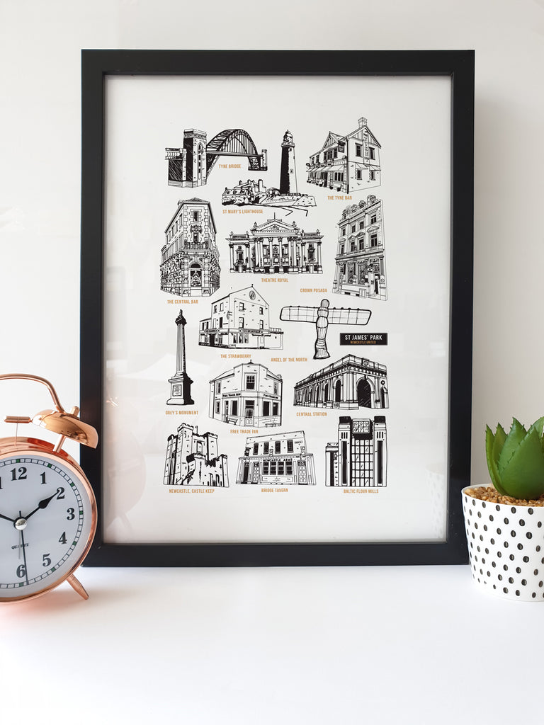 This Geordie print features hand drawn illustrations of Newcastle & North East local landmarks & pubs. tyne bridge, angel of the north, greys monument, tyne bar, free trade inn, bodega, crown posada, bridge tavern