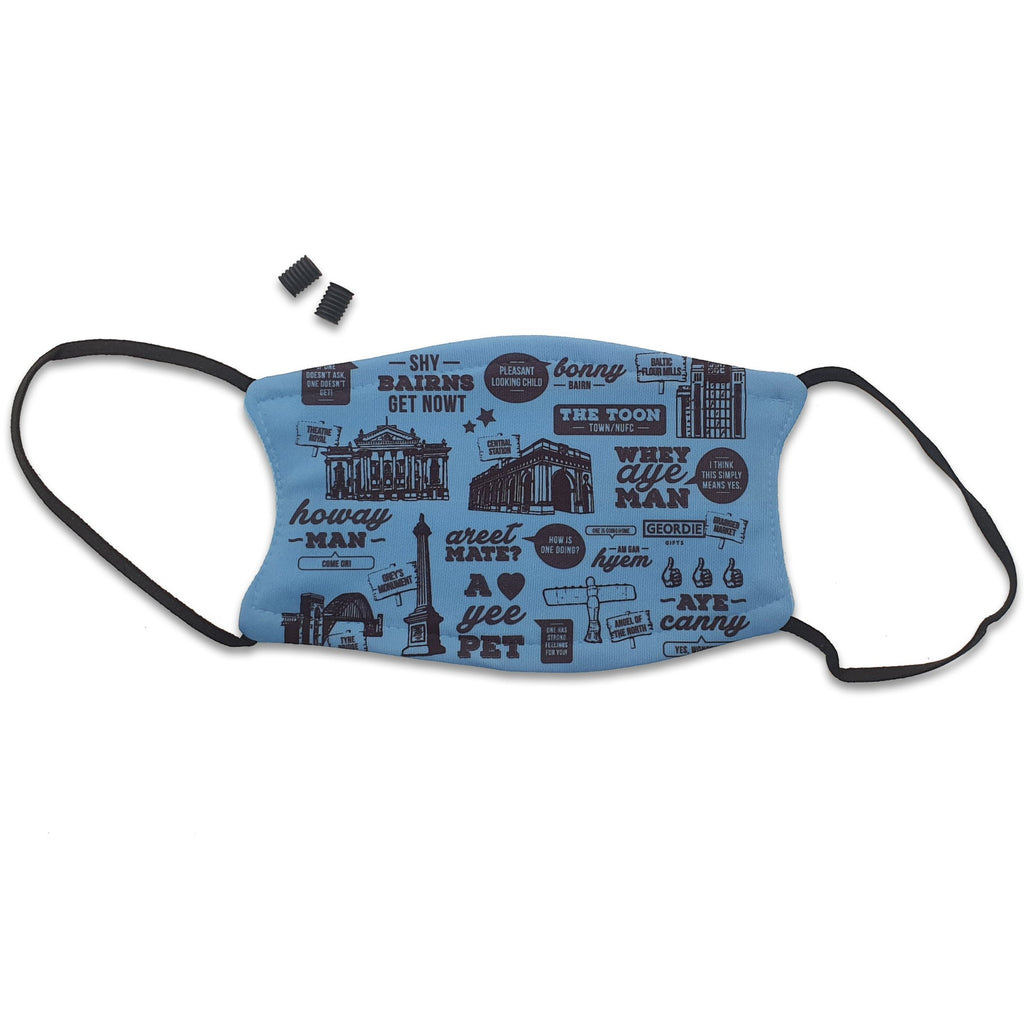 blue geordie and newcastle face mask. Mask reads: This mask displays hand drawn illustrations of popular North East landmarks & hilarious translations of some of the most common Geordie phrases.