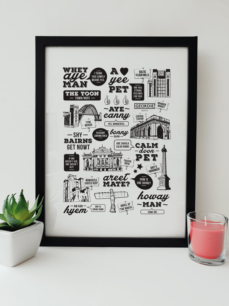 popular geordie sayings and phrases translated meaning of newcastle worlds funny artwork and hand drawn northeast landmarks images