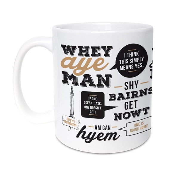 popular newcastle and geordie phrases translated. Unique gifts for geordies mug