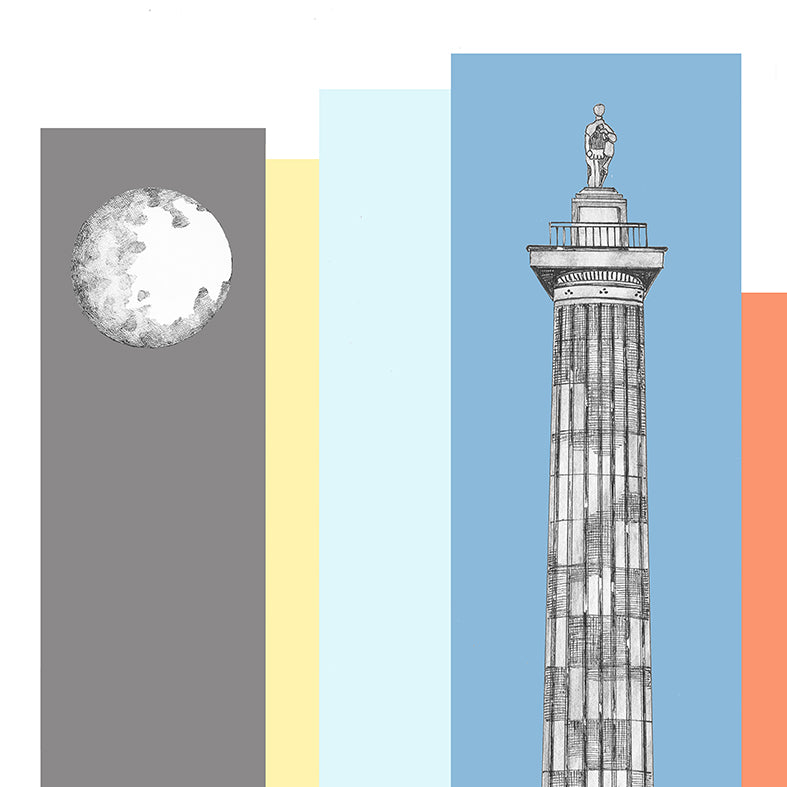 greys monument bright colours framed artwork newcastle landmarks by ben holland