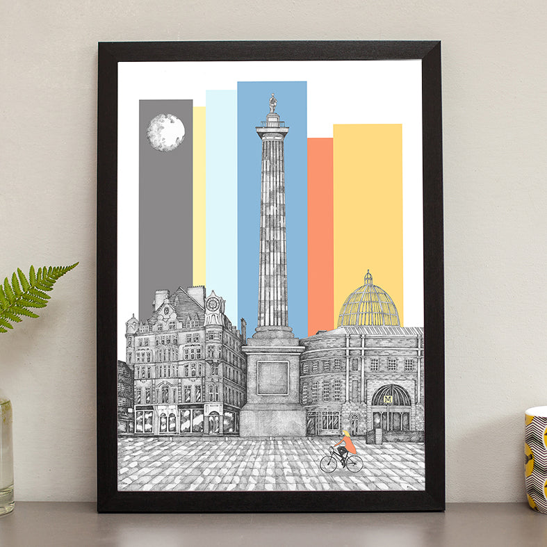greys monument hand drawn pen and ink newcastle landmarks art photography framed prints north east photos tyne and wear geordie gifts
