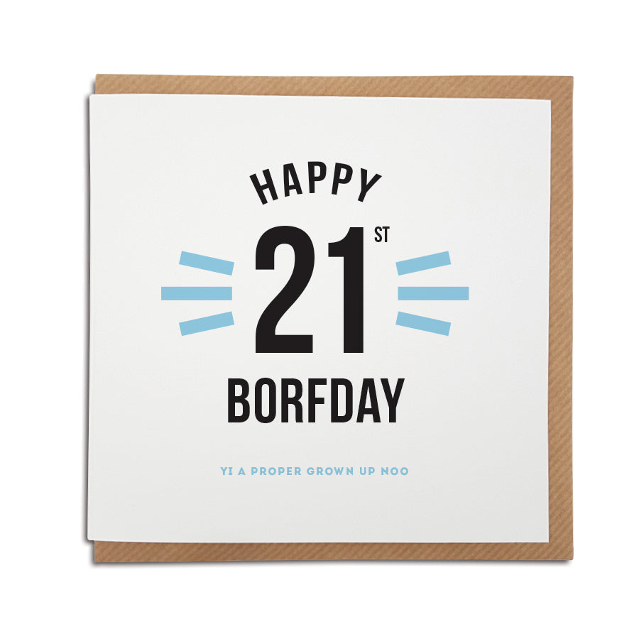 Funny 21st Birthday Cards: 21st Geordie Birthday Card