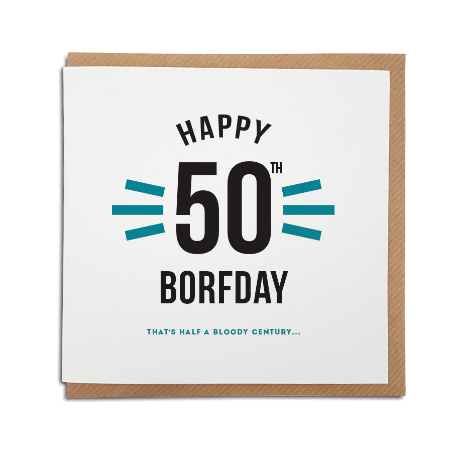 funny 50th birthday celebration geordie card. Gifts for newcastle people. Newcastle cards shop