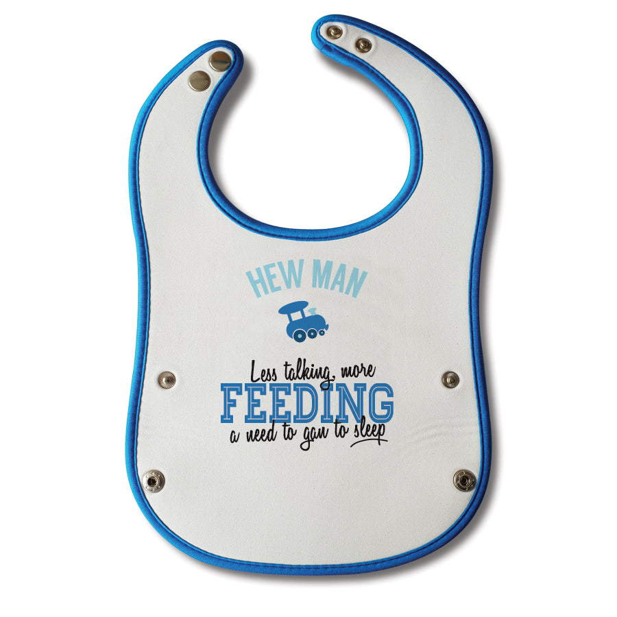 Hew man less talking more feeding a need to gan to sleep. Funny geordie baby bib blue boy (bairn) newcastle popular phrases