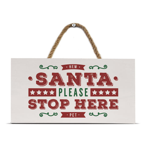 santa please stop here geordie newcastle christmas sign decorations