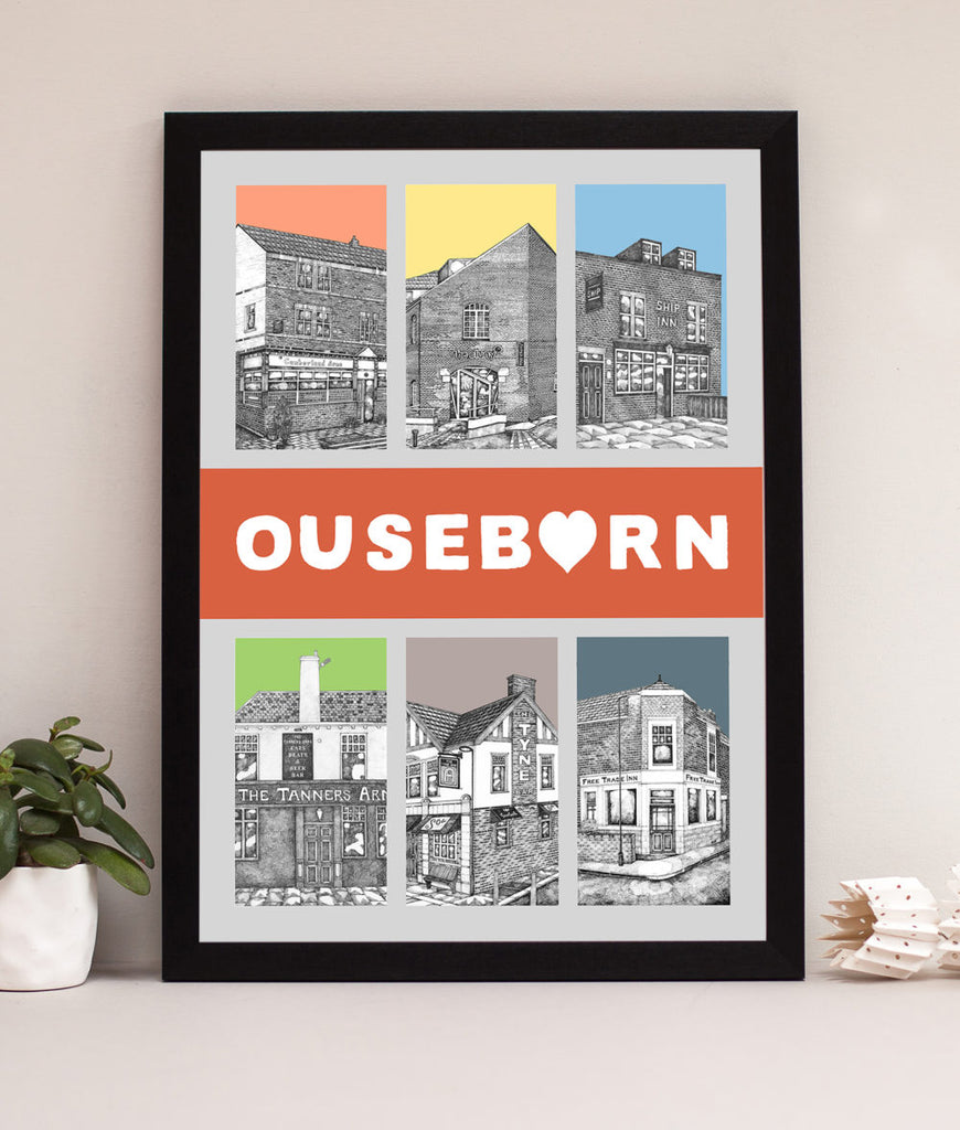 ouseburn pubs artwork hand drawn illustration by ben holland framed prints. Featuring the Cumberland Arms, The Cluny, Ship Inn, Tanners, Tyne Bar and the Free Trade this print celebrates the historic pubs of the Ouseburn Valley.