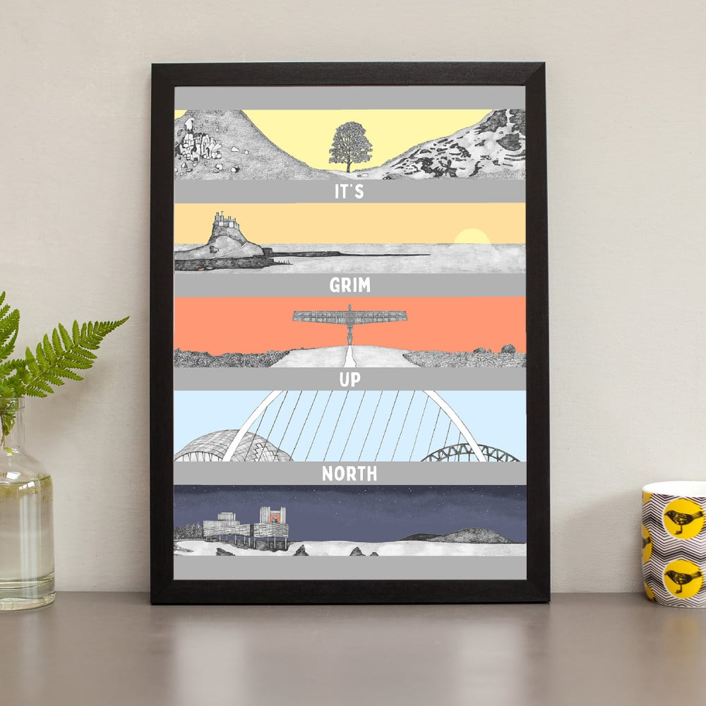 hand drawn northeast landmarks framed photos art. it's grim up north Featuring Sycamore Gap, Lindisfarne, Angel of the North, the Tyne and Kielder Observatory.