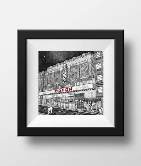 Beautiful Black & white illustration, hand drawn pen & ink print of the old ODEON, Pilgrim street. Newcastle landmark frames FREE UK DELIVERY