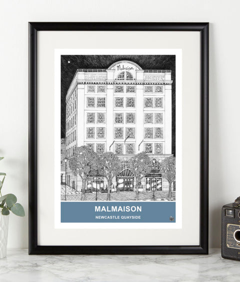 malmaison newcastle quayside illustrated hotel building by ben holland. Geordie gifts northeast landmark print