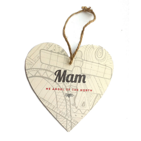 mam me angel of the north handmade wooden heart plaque
