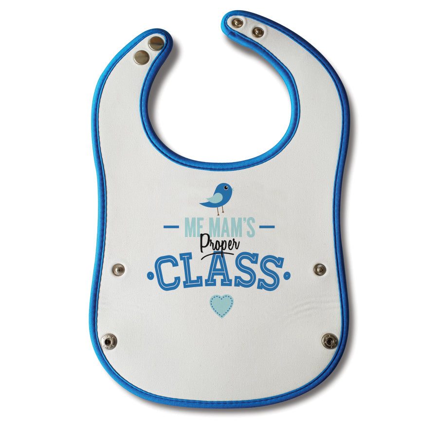 me mams proper class. Baby boy blue geordie baby bib. Designed and made in newcastle by geordie gifts. Northeast phrases childrens clothing