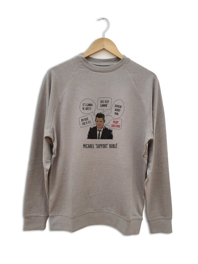 FUNNY NEWCASTLE GEORDIE CHRISTMAS JUMPER, MICHAEL SUPPORT BUBLE CORONAVIRUS CLOTHING