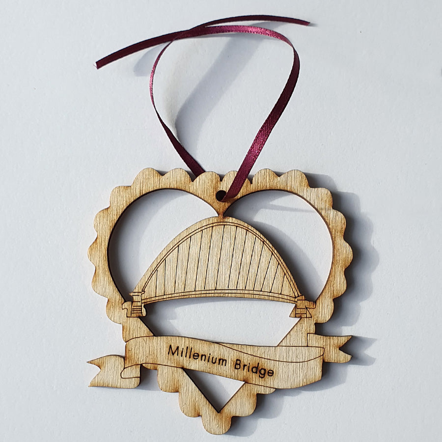 Millennium Bridge Geordie Christmas Tree Decoration - Bauble
