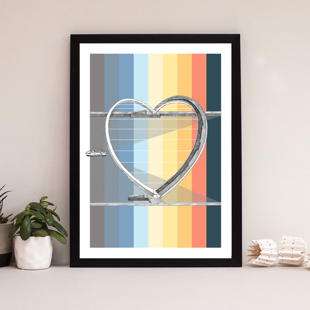 millennium bridge heart shop from drone footage. Hand drawn pen and ink newcastle landmark framed print photos art