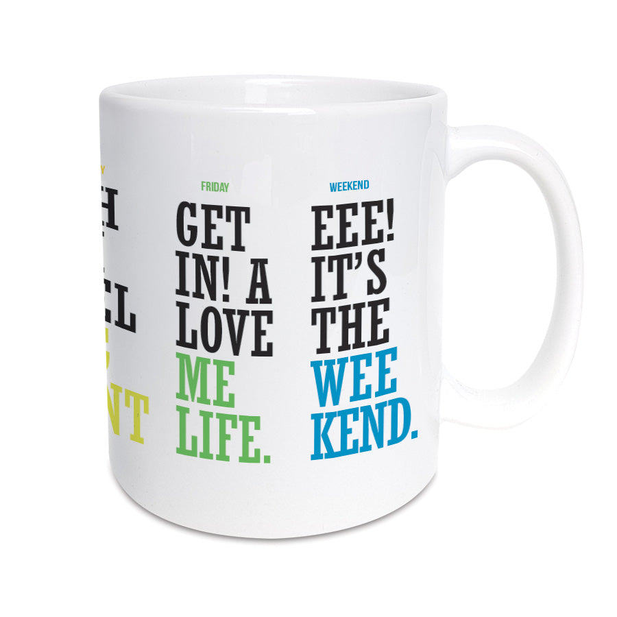 eee it's the weekend. Funny geordie gifts mug using geordie dialect and lingo with popular northeast accent phrases and sayings