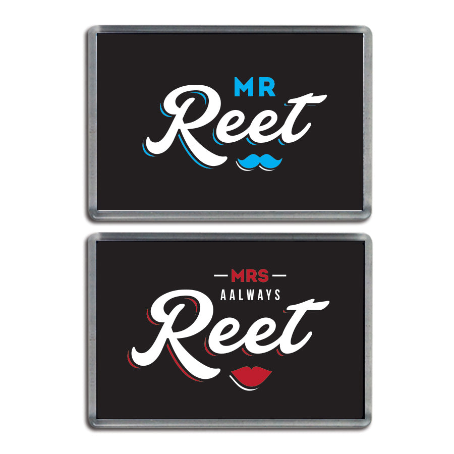 his and hers geordie couple fridge magnets. Mr reet & mrs always reet newcastle souvenirs