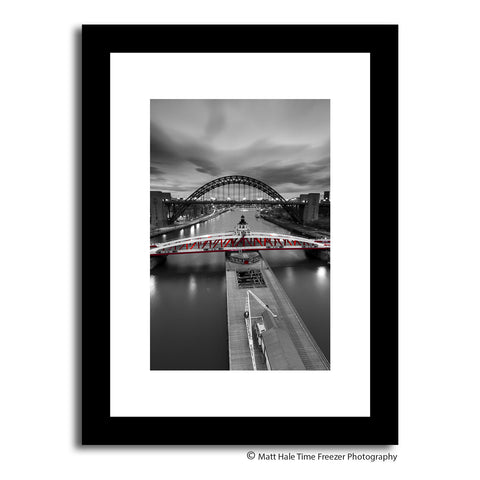newcastle swing bridge red against black and white quayside. Framed print photography