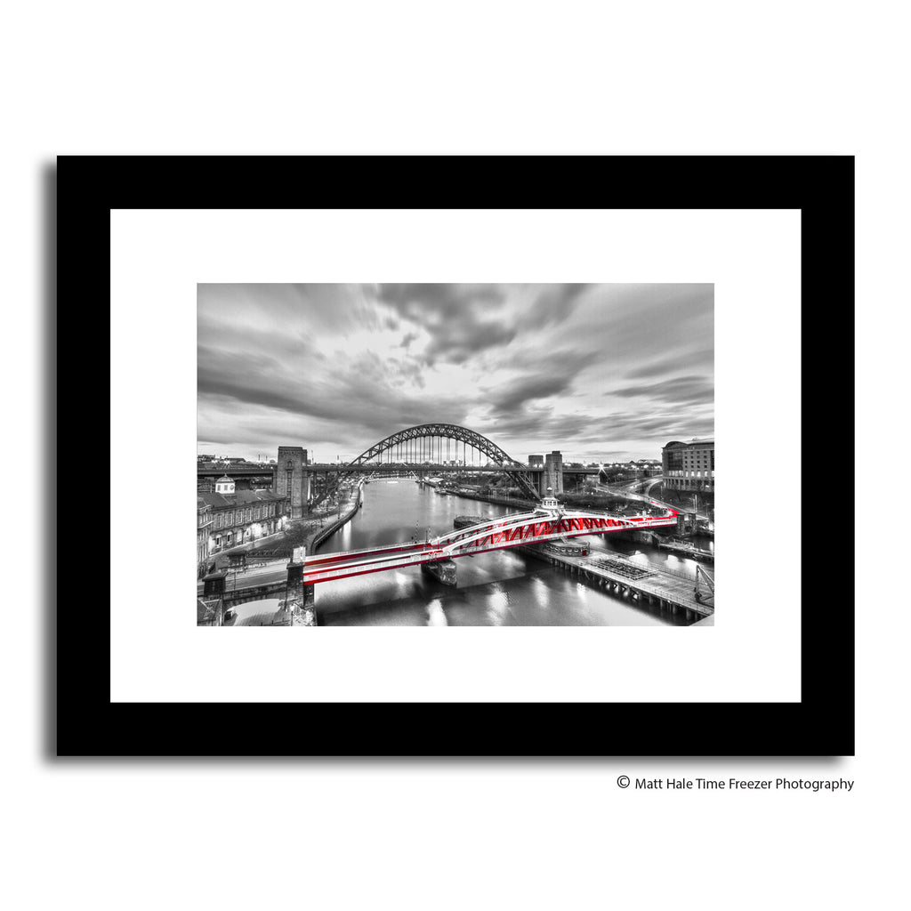 black and white newcastle quayside framed print. Bright red swing bridge feature north east photography art