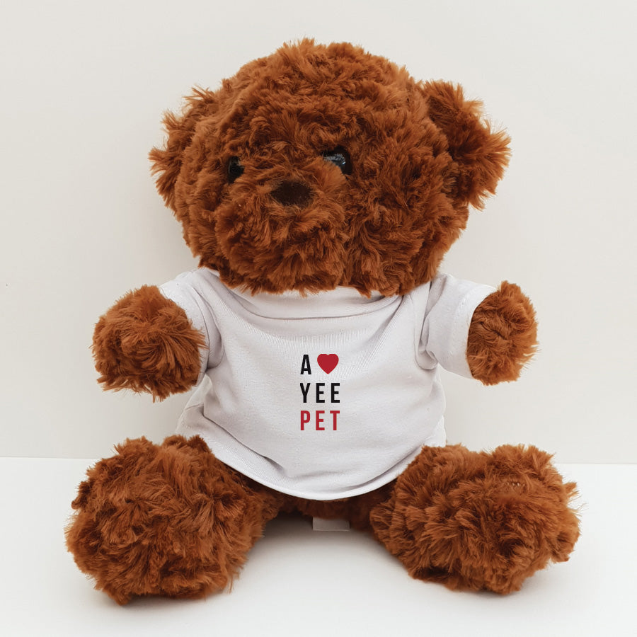 A cute & cuddly teddy bear with Newcastle & geordie lingo themed T shirt. Designed & made by Geordie Gifts in the North East. Teddy bears t shirt has the message: A love yee pet displayed. Perfect present for Valentine's or a Birthday!