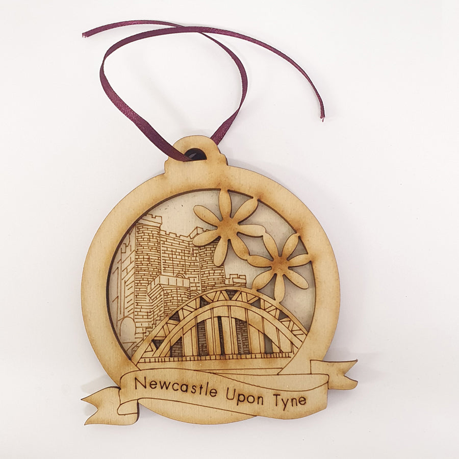 Unique High Quality Lazer Cut Geordie Christmas Tree Decoration Baubles  Bauble displays: Etched illustration of the Tyne Bridge & the Castle keep in the background. by craft sensations