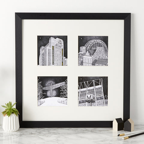 Beautiful Black & white illustration, hand drawn pen & ink print Drawings of Newcastle landmarks, Tyne bridge, st james park, angel of the north & the baltic flour mills FREE UK