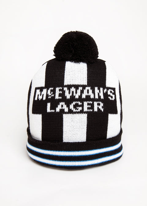 philipe albert nufc newcastle united football club wooly bobble hat. geordie gifts headwear with mcewans lager logo newcastle hats