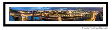 newcastle quayside panoramic framed print. Newcastle upon tyne at night photography