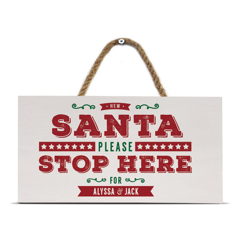 personalised santa please stop here geordie gifts sign, newcastle christmas decorations with rope