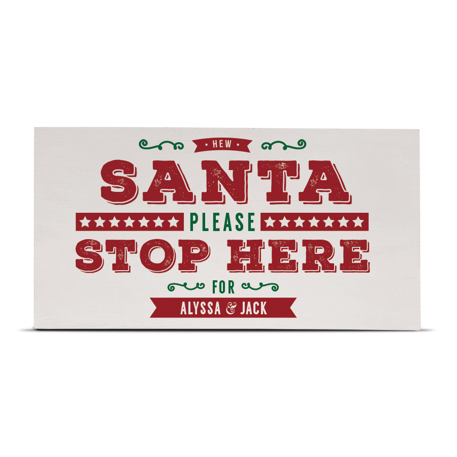 personalised santa please stop here geordie gifts sign, newcastle christmas decorations