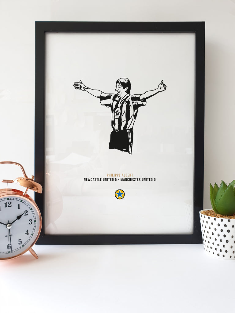 This Geordie print features a hand drawn illustration of Philippe Albert celebrating after chipping Peter Schmeichel from 20 yards out, scoring Newcastle's 5th goal in a famous 5 nil win over Manchester United at St James' Park.