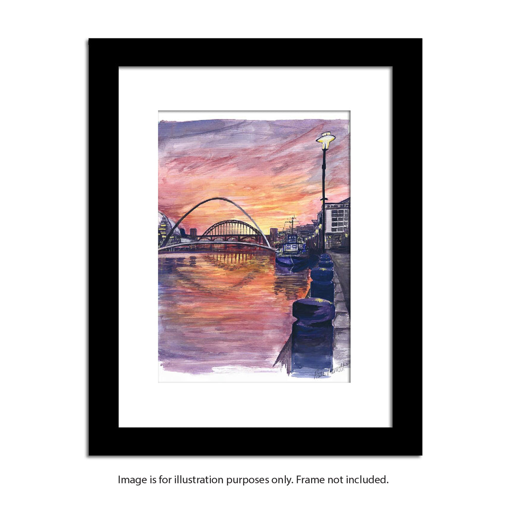 framed mock up quayside at sunset painting by rosie parrott