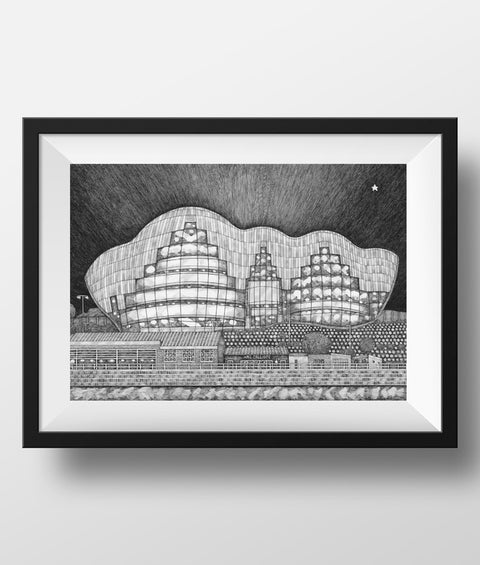 Sage Gateshead hand drawn black & white pen & ink illustration. Newcastle famous landmark print