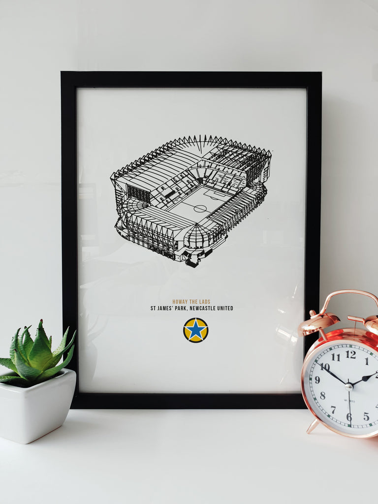 st james park newcastle united football ground black and white illustration hand drawn artwork framed picture. Howay the lads a3 print