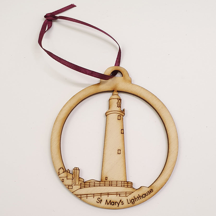St Mary's Lighthouse, whitley Bay. newcastle upon tyne geordie christmas tree decoration baubles