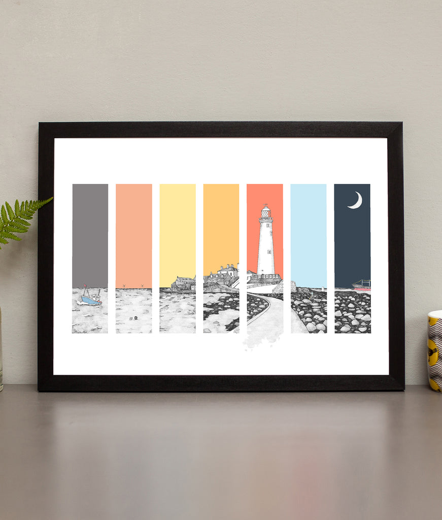 ben holland hand drawn pen & ink illustration of the iconic st mary's lighthouse in whitley bay. Black and white artwork set on a colourful background
