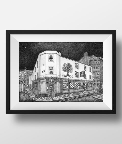 Beautiful Black & white illustration, hand drawn pen & ink print of the Forth pub, Pink lane. Newcastle landmark frames FREE UK DELIVERY