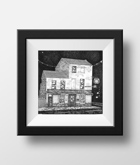 Beautiful Black & white illustration, hand drawn pen & ink print of the strawberry pub. Newcastle landmark frames FREE UK DELIVERY