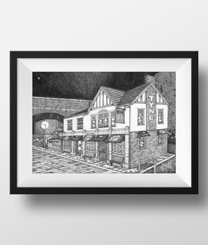 Beautiful Black & white illustration, hand drawn pen & ink print of the Tyne Bar. Ouse burn pubs. Newcastle landmark frames FREE UK DELIVERY