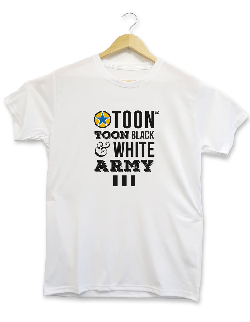 toon toon black and white army newcastle united football shirt alternative nufc kit t shirt for a supporter made by geordie gifts