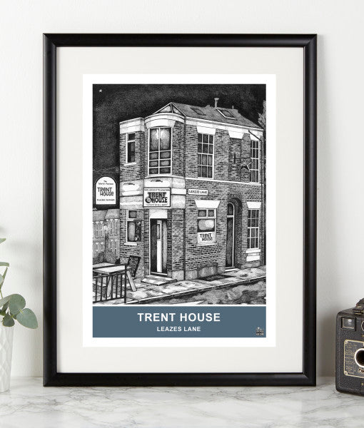 trent house newcastle upon tyne pubs illustrated by ben holland. Geordie Gifts northeast landmarks framed prints artwork