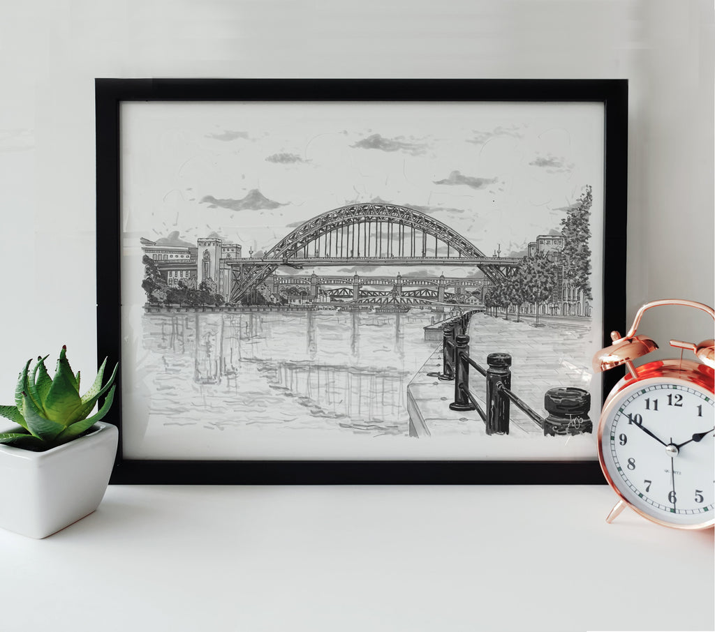 hand drawn black and white artwork of tynebridge newcastle quayside framed print images art by arjo geordie gifts