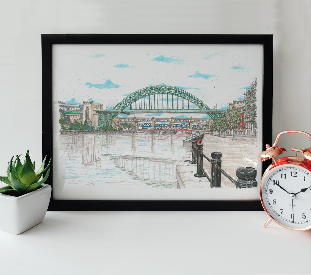 hand drawn artwork of tynebridge newcastle quayside framed print images