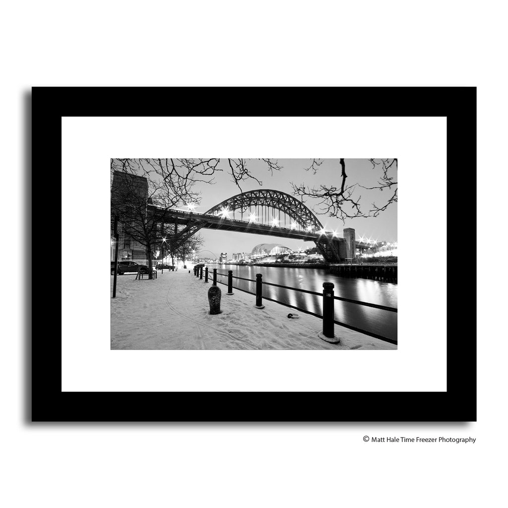 newcastle quayside in the winter snow. Black and white tyne bridge north east photography matt hale